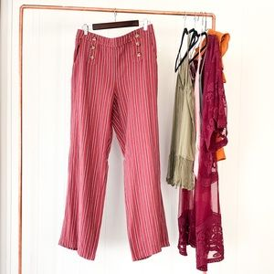 NWT Linen Striped Boat Pants